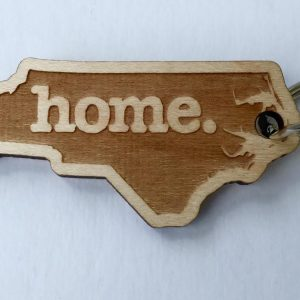 NC Home State Wooden Keychain