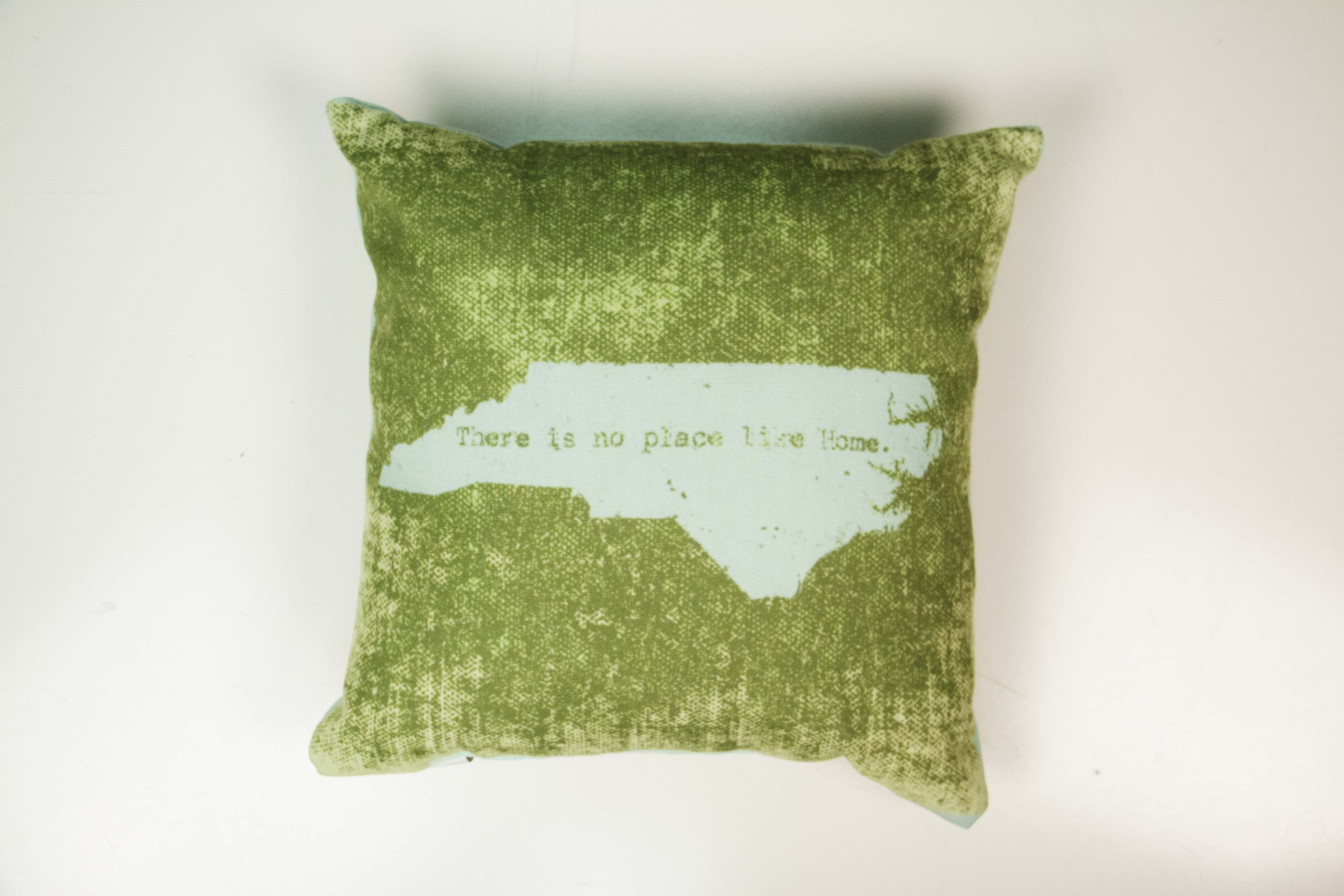 There Is No Place Like Home North Carolina Pillow Green