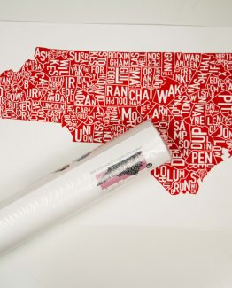 North Carolina Counties art for your wall - red