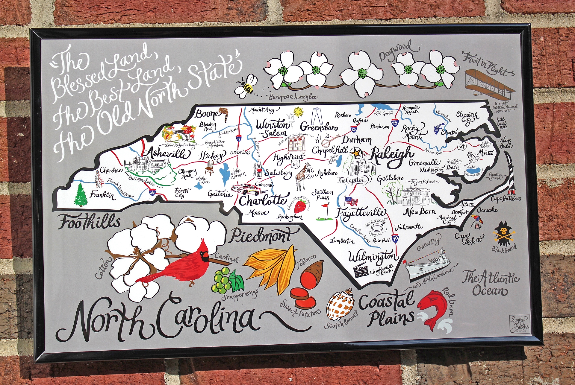 north carolina whimsical map art