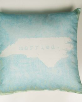Married in North Carolina pillow - aqua